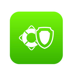 lifebuoy and safety shield icon digital green vector image