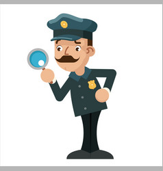 magnifying glass policeman detective police vector image