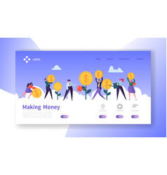 Making money landing page business investment vector