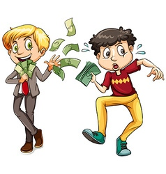 Men with lots of money and little money vector image
