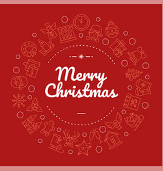 merry christmas social media banner with linear vector image