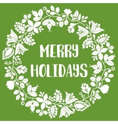 Merry Holiday card with christmas wreath on green vector