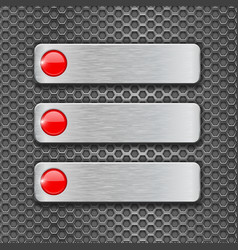 Metal perforated background with steel plates vector