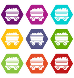 mine cart icons set 9 vector image