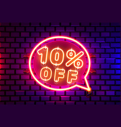 Neon chat frame 10 off text banner night sign vector