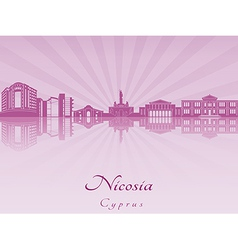 Nicosia skyline in purple radiant orchid vector