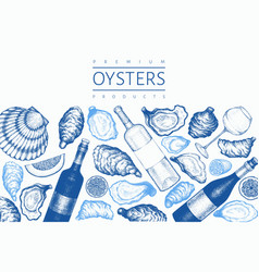 oysters design template hand drawn seafood vector image