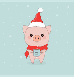 pig with coffee vector image