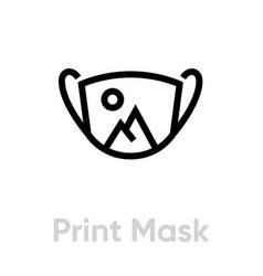 Print on mask icon editable line vector