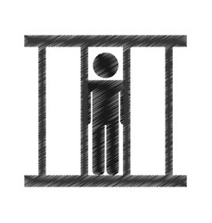 Prisoner silhouette isolated icon vector