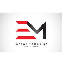 Red and black em e m letter logo design creative vector