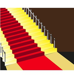 Red carpet staircase background vector