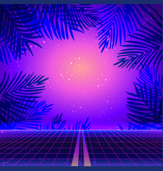 retro futurism futuristic synth wave vector image