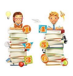 Schoolchildren School infographic elements 3d vector