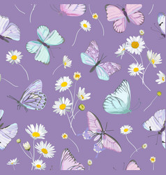 seamless daisy flowers and butterfly vector image