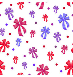 Seamless pattern with bows gift kknots of ribbon vector