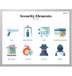 security elements flat pack vector image