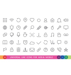 set from 50 flat linear icons for web and mobile vector image