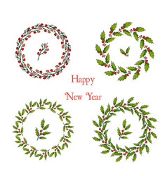 Set of christmas and new year holly wreath vector