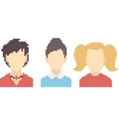 set of pixel faces vector image