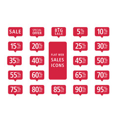 set of red web flat sales icons vector image