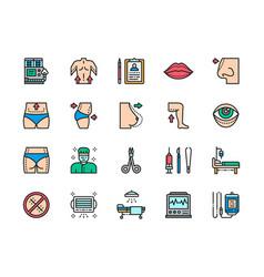 set plastic surgery color line icons surgeon vector image