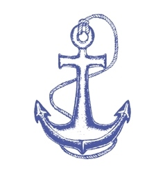 Ship Anchor and Rope Hand Draw Sketch vector image