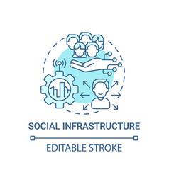 Social infrastructure blue concept icon vector