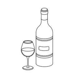 Spanish wine bottle with glass icon in outline vector