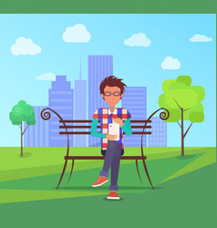 Spending time in park banner man on bench vector