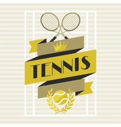 Sports background with tennis in flat design style vector image
