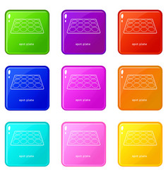 Spot plate icons set 9 color collection vector