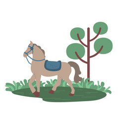 stallion galloping in park horse in forest vector image