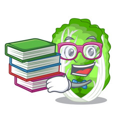 student with book chinese cabbage vegetable vector image