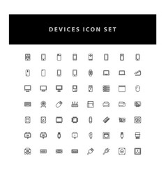 Technology device icon set with outline design vector