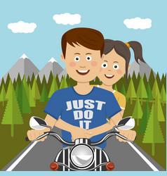 Teenager couple riding a motocycle outdoor vector