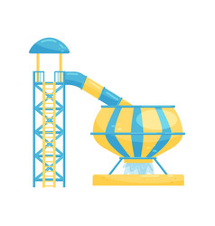 Tunnel water slide with circular bowl and pool vector