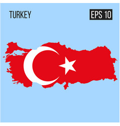 Turkey map border with flag eps10 vector