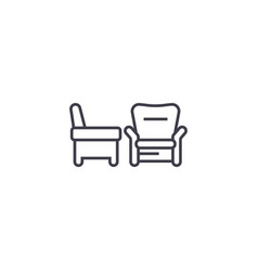 two armchairs line icon sign vector image