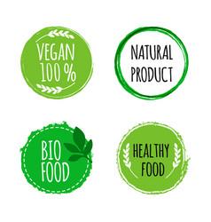 Vegan round logos badges set of hand drawn bio vector