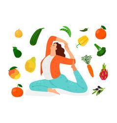 vegan woman doing yoga vector image