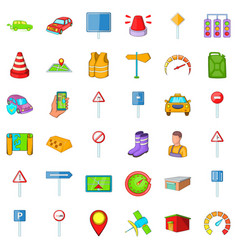 vehicle icons set cartoon style vector image