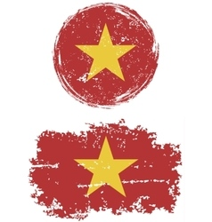 Vietnamese round and square grunge flags vector image