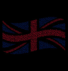 Waving great britain flag mosaic of connection vector
