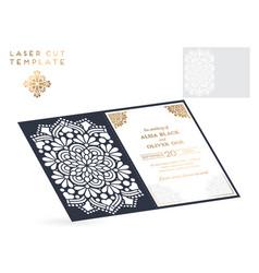 wedding card laser cut template vintage vector image