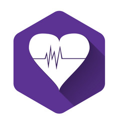 white heart rate icon isolated with long shadow vector image