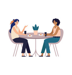 women friends cafe meeting with friends girls vector image