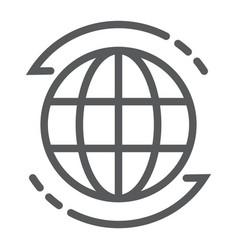 Worldwide line icon globe and world planet sign vector