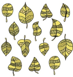 colored doodle leafs vector image vector image