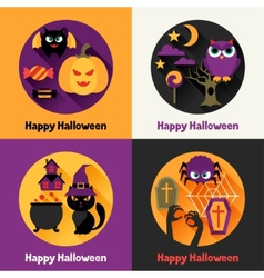 Happy halloween greeting cards in flat design vector image vector image
